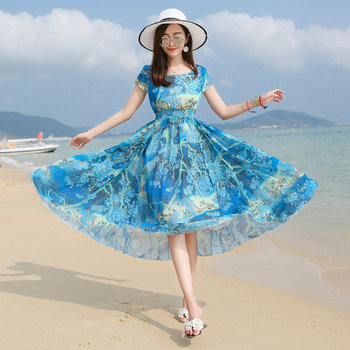 Summer Woman Casual Chiffon Dress Blue Floral Printing Round Collar Short Cap Sleeve Elastic High Waist Swing Dresses Women 2020 bohemian round collar short sleeve asymmetrical chiffon dress for women