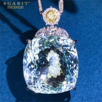 Beautiful Big Gemstone Jewelry 18k Gold Necklace Part 52.3ct Natural Paraiba Tourmaline Charm Pendant 1