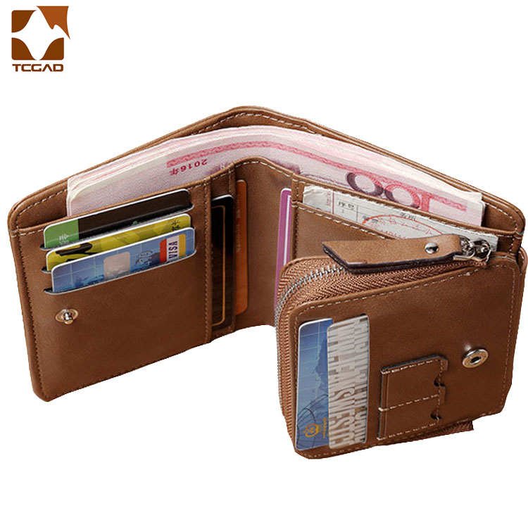 Three Fold Wallet Man Short Zipper Small PU Mini Wallets Retro Coin Pocket Compartment Porte Feuille Homme Vintage Clutch Bag