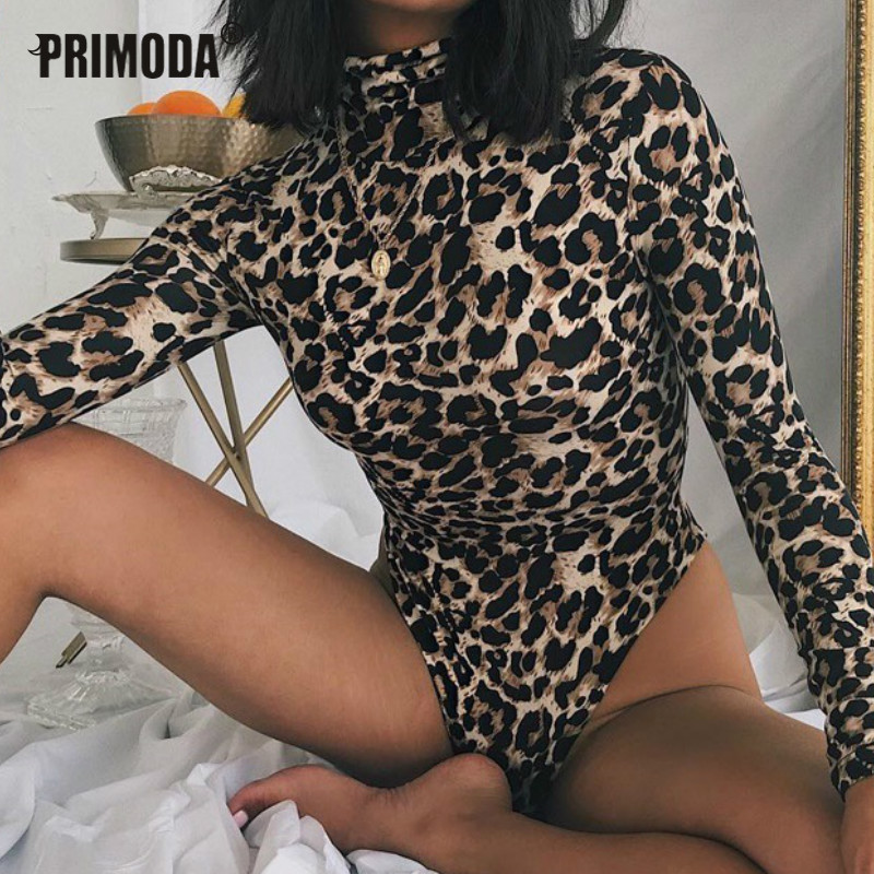 Sexy Bodycon Snake Leopard Bodysuit For Women Autumn Skinny Body Turtleneck Long Sleeve Printed Rompers Clubwear Party PR058G