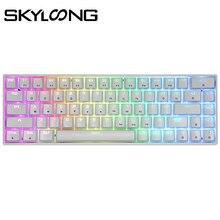 Игровая механическая клавиатура SKYLOONG GK68, оптическая популярная программируемая RGB Проводная клавиатура с ABS-клавишами, игровая клавиатура ...