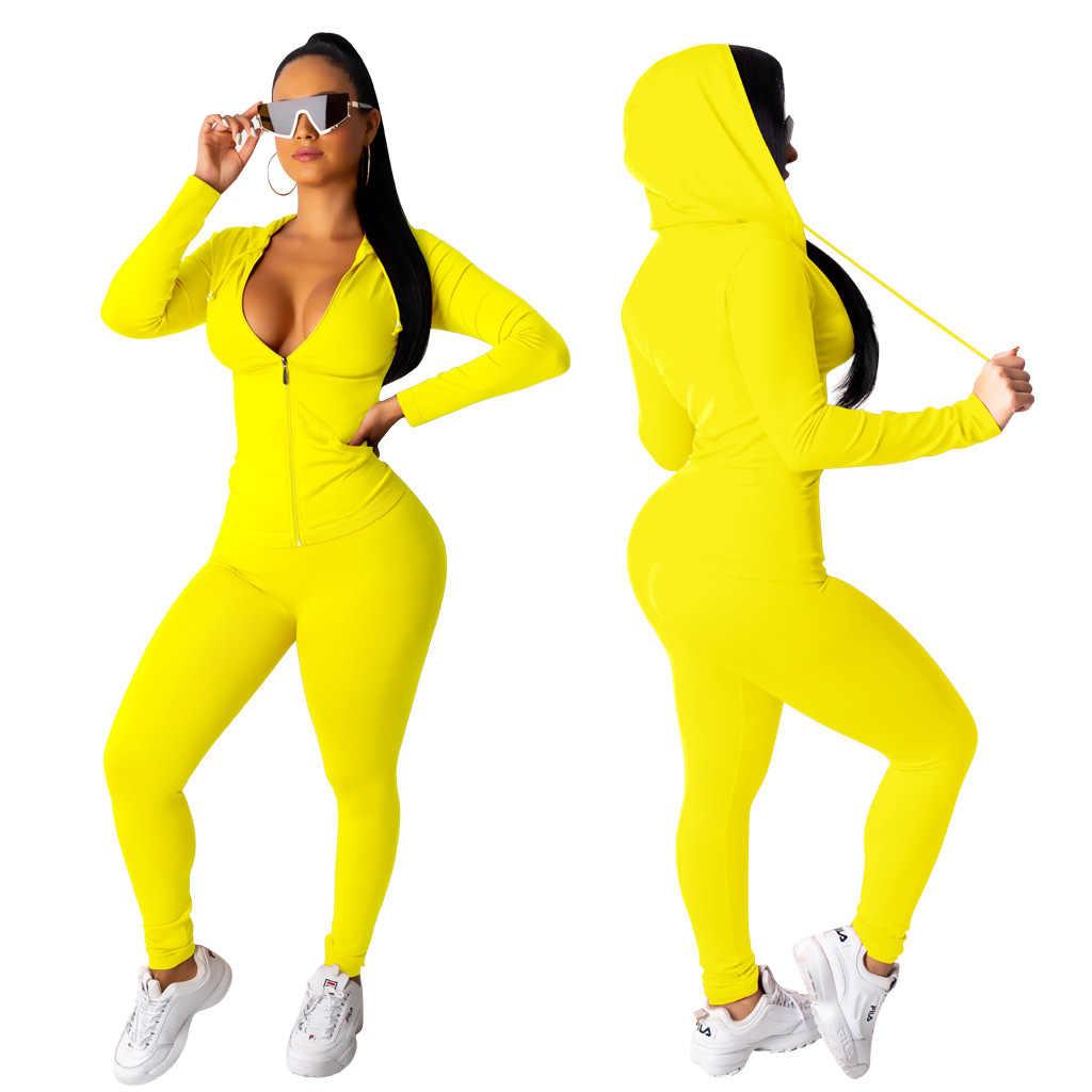 בתוספת גודל ספורט תלבושת אימונית נשים 2 חתיכה סט תלבושת נים ארוך צפצף סט סתיו חורף סווטשירט ריצה מכנסיים סוודר