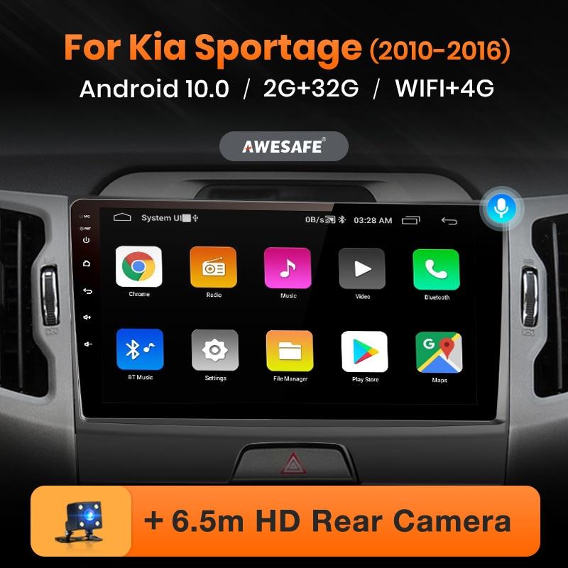 AWESAFE PX9 pour KIA Sportage 3 2010 2011 2012 2013 2014 2015 2016 autoradio DVD GPS navigation No 2 din Android 10.0 2GB + 32GB