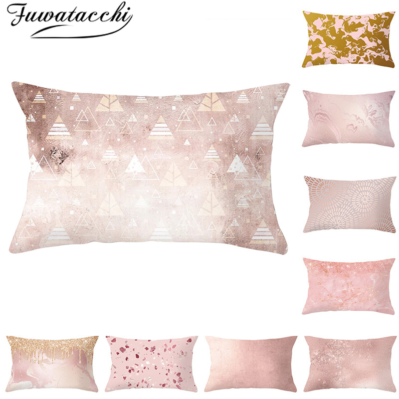 Fuwatacchi Rectangle Polyester Cushion Cover Geometric Throw Pillowcase For Sofa Decorative Pink Gold Pillows Covers 30*50cm