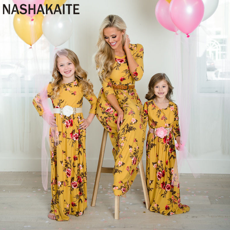 NASHAKAITE Mother Daughter Dresses Mommy And Me Clothes Yellow Floral Printed Three Quarter Long Dress Mom And Daughter Dress