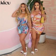 Kliou – robe à bandes Sexy, dos nu, découpée, col licou, tenue de Style de rue pour femmes, imprimé, Slim, fente latérale, été, 2021