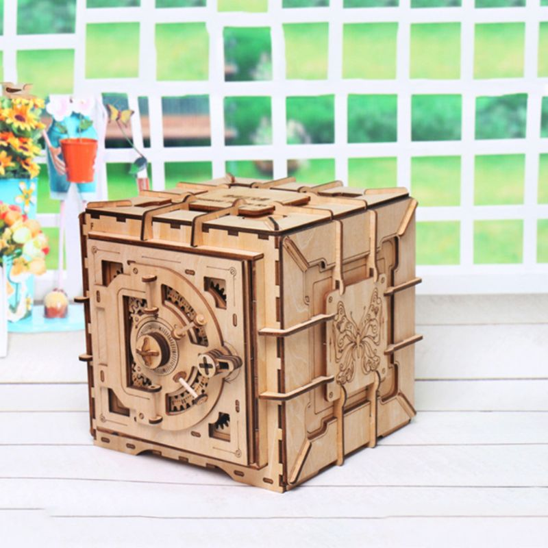 3D Puzzles Wooden Password Treasure Box Mechanical Puzzle DIY Assembled Model