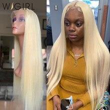 Wigirl brasileiro em linha reta remy 150% densidade loira frente do laço perucas de cabelo humano 13x4 transparente 613 perucas louras para a mulher negra