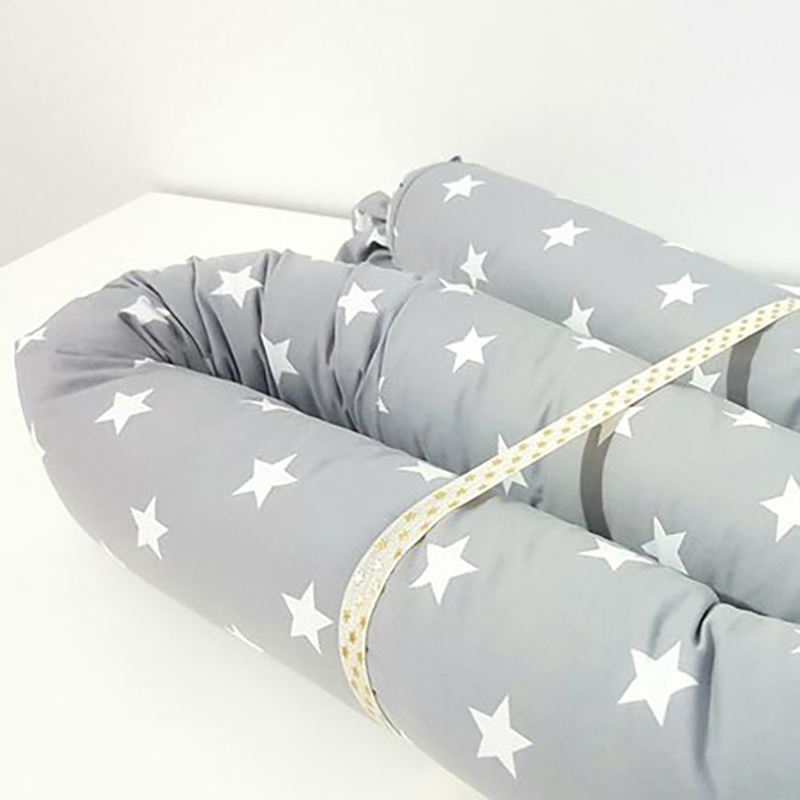 Newborn Baby Bed Bumpers Crib Safety Protection Pad Infant Cot Crib Bedding Cushion Star Print Grey White Black