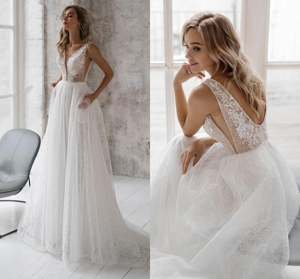 2020 A Line Backless Wedding Dresses V Neck Appliques Lace Top Tulle Floor Length Custom Made Bohemia Bridal Gowns