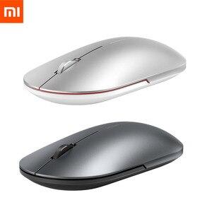 Image 1 - Mais novo xiaomi bluetooth mouse mi moda sem fio mouse mouses 1000dpi 2.4ghz wifi ligação mouse óptico de metal portátil mouse