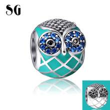 SG Silver 925 original owl charms with CZ&enamel Pendant Beads Fit Authentic pandora Charms sterling-silver-jewelry making Gift