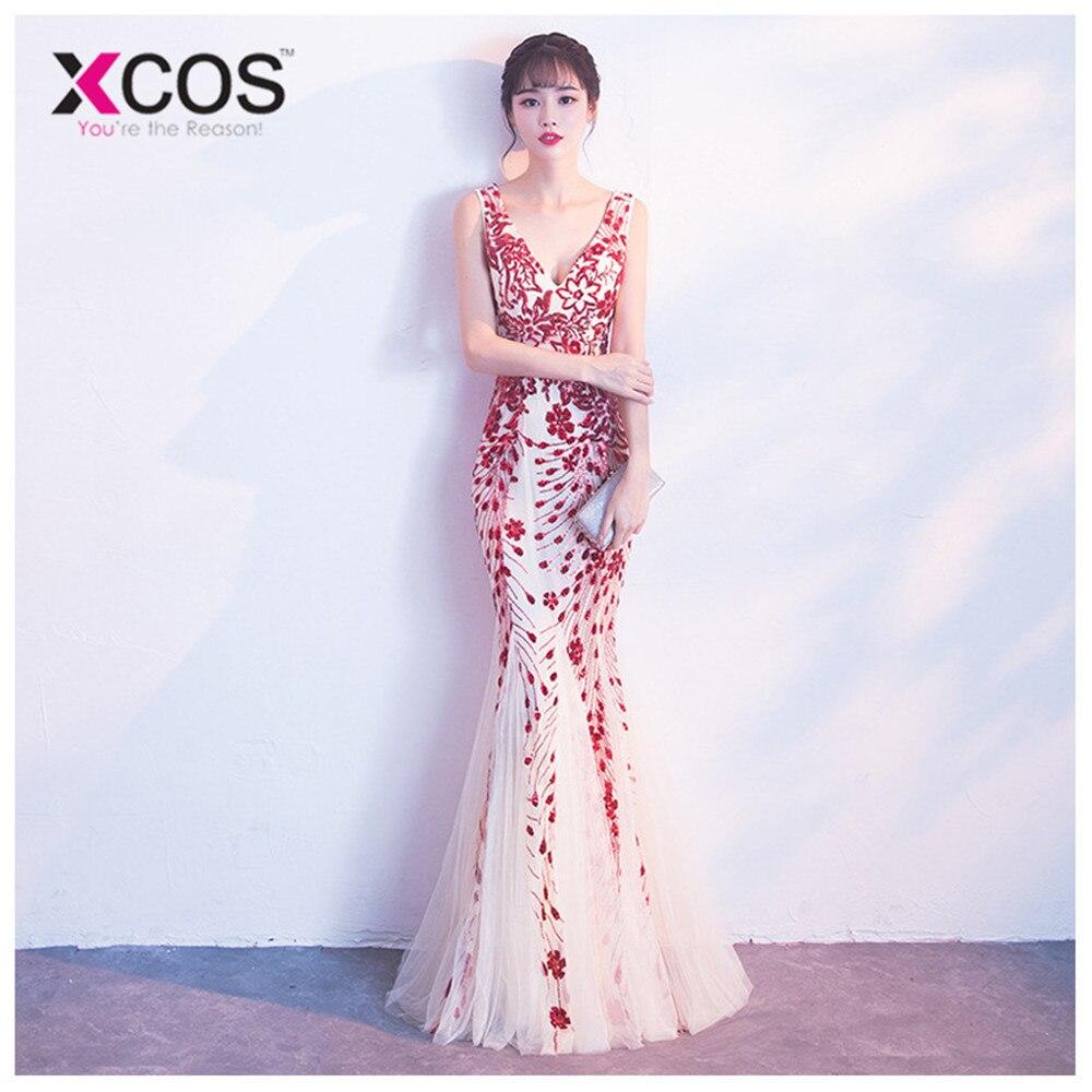 XCOS robes de soirée formelles 2019 jamais jolie nouvelle sirène col en v sans manches Appliques longues robes de soirée Robe Soiree Sexy
