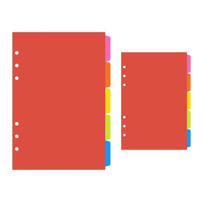 1Set A5 A6 Loose Leaf Binder Index Separator PP Colorful 6 Hole Page Dividers 24BB