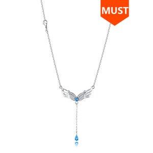 Image 1 - Sg 925 prata esterlina pena asas colar para as mulheres azul cristal e zircão pingente colares é um presente de jóias de moda