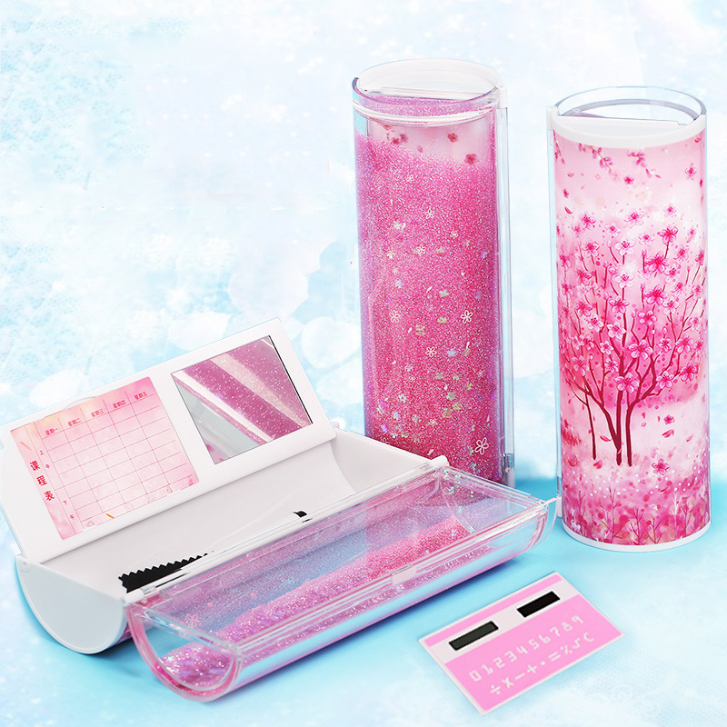 Quicksand Translucent Creative Multifunction Cylindrical Pencil Box Case 2020 school Stationery Pen Holder Pink Blue calculator