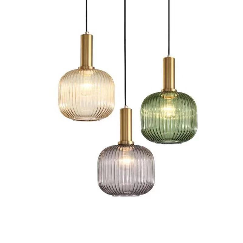 Nordic bedside hanging lamps retro Simple glass striped vintage small pendant lamp Electroplated gold green glass droplight loft