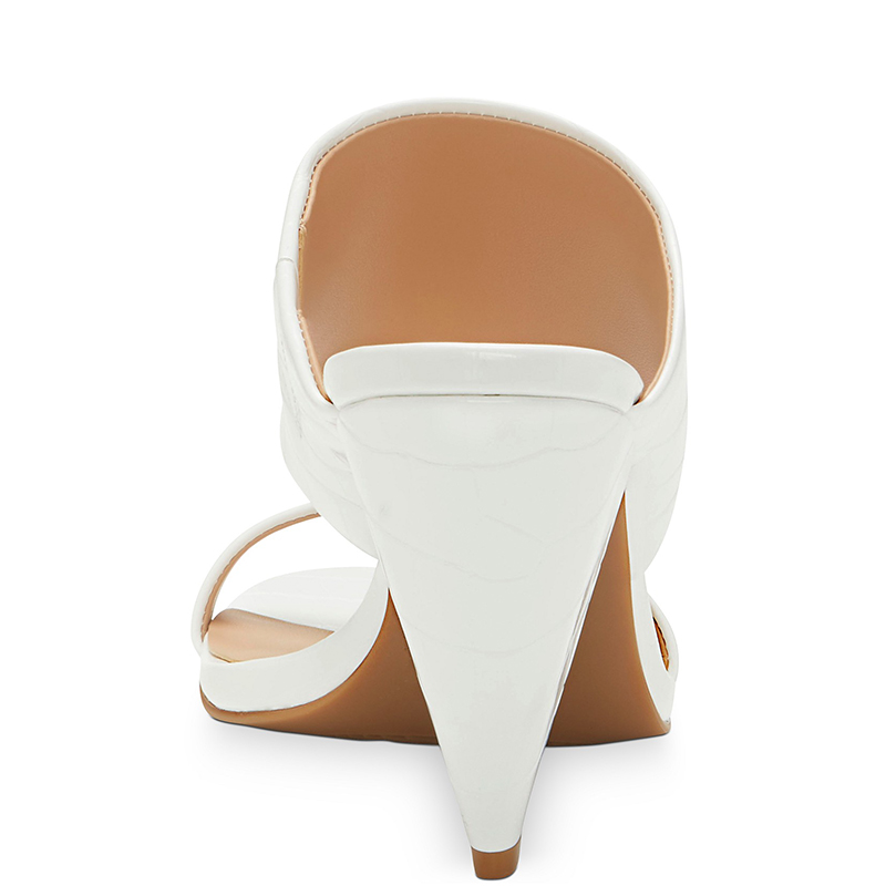 Croc blanc en relief talons hauts cône sandales femme bout ouvert sangle grande taille 12 15 dames été chaussures de loisir à la mode Shofoo - 4
