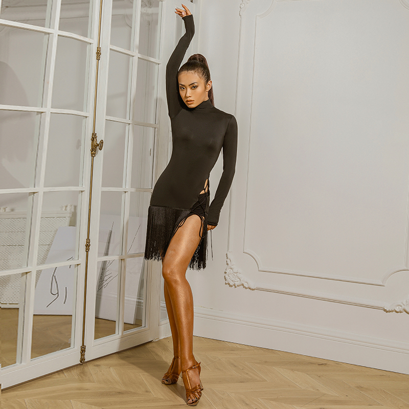 ZYMdancestyle The Minimalist Sexy Dress #1948H Women Latin Dance Practice Wear Long Sleeve HignNeck Fringe Bandge With Underwear