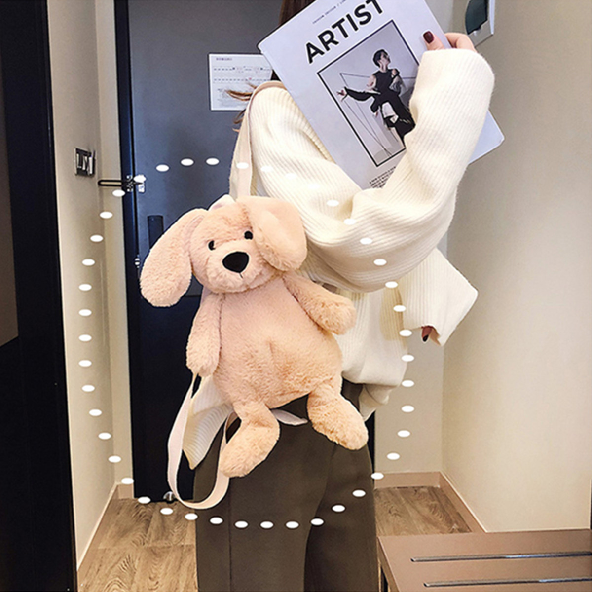 Cute Puppy Cartoon Plush Backpack Bag Women Cartoon Dog Back Pack Fluffy Animal Shoulder Bag Stuffed Toy Children baby gift