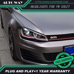 Image 3 - Car Styling H7 Head Lamp case for VW Golf7 Golf 7 Headlights Golf 7 MK7 2014 2015 LED Headlight DRL Lens Double Beam Bi Xenon