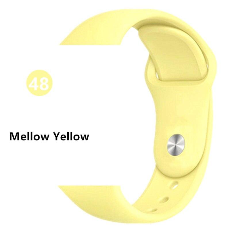 Ремешок для Apple Watch 38 мм 42 мм iWatch 4 ремешка 44 мм 40 мм спортивный силиконовый ремень браслет Apple watch 5 4 3 2 Аксессуары для ремешка - Цвет ремешка: Mellow Yellow