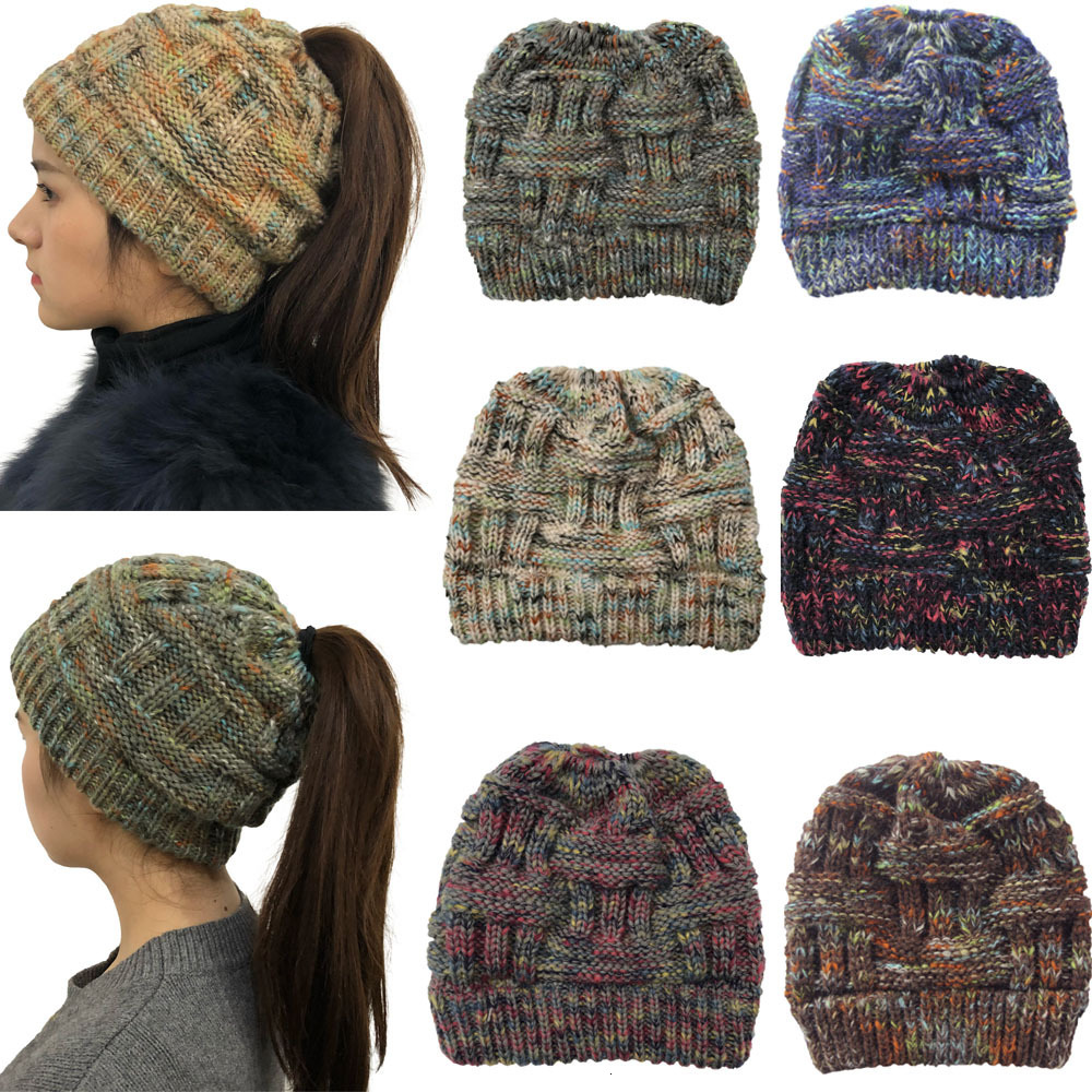 Женская Шапка-бини XPeople, теплая зимняя шапка для конского хвоста, грязная шапочка для конского хвоста