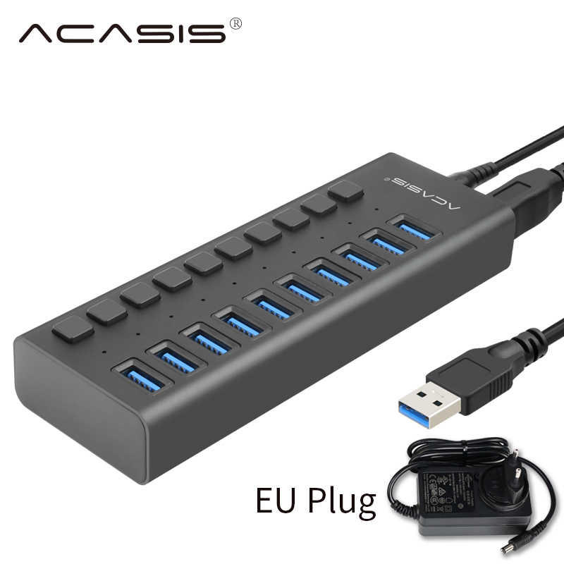 Usb 3.0 Hub 10 Port 12V 4A Power Adapter USB HUB 3.0 Charger dengan Switch Multi Usb Splitter USB3.0 hub untuk Macbook Laptop PC