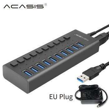 USB 3.0 Hub 10 Port 12V 4A Power Adapter USB HUB 3.0 Charger With Switch Multi USB Splitter USB3.0 Hub for Macbook PC Laptop