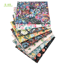 Chainho,Black Floral,Printed Twill Cotton Fabric,8pcs/Lot,40x50cm,Patchwork Cloth For DIY Quilting Sewing Baby&Child's Material