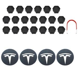 For Tesla Aluminum Model 3/ S/ X /Wheel Center Caps Hub Cover Screw Cap Logo Kit Decorative Tires Cap Modification Accessories(China)
