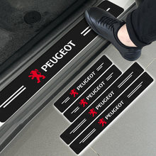 4 шт. углеродного волокна наклейка порога протектор Стикеры для Peugeots 107 108 206 207 308 307 508 2008 3008 Стиль стайлинга автомобилей