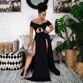 2021 лучшее качество Известный Брендовое платье одноцветное Слэш шеи с коротким рукавом летние пикантные Звездные Вечерние Длинное платье ...