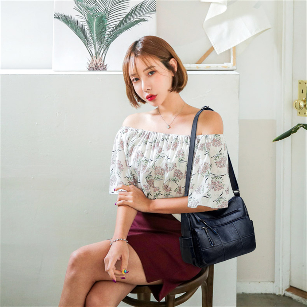 Hot Soft Leather Bolsa Luxury Ladies Hand Bags Female Crossbody Bags for Women Shoulder Messenger Bags Thread Sac A Main Femme 2