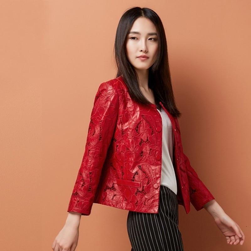 Embroidery Hollow Out O-Neck Genuine Leather Jacket Women Real Leather Coats Sheepskin Fashion Elegant Female Outerwear Autumn