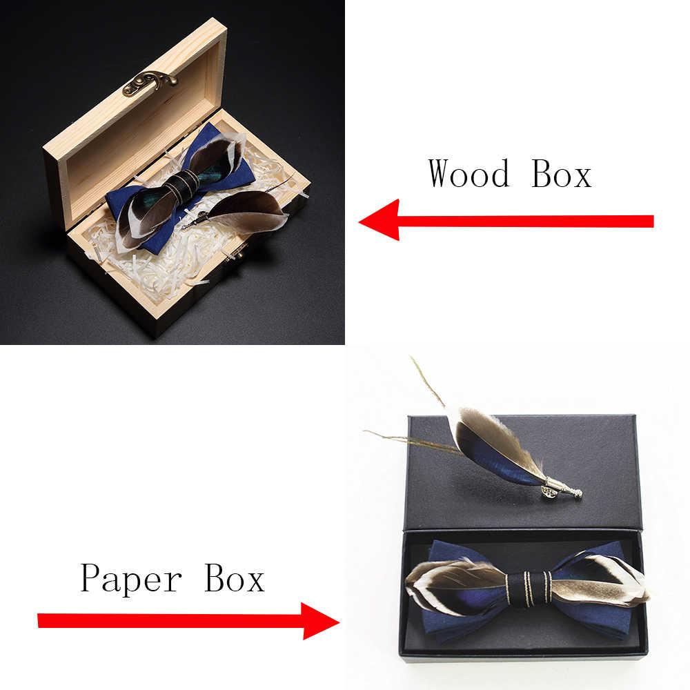 Groleson الأصلي تصميم جديد الطبيعية ريشة ربطة القوس فيونكة رائعة يدوية رجالي ربطة بروش دبوس علبة هدايا خشبية مجموعة لحفل الزفاف