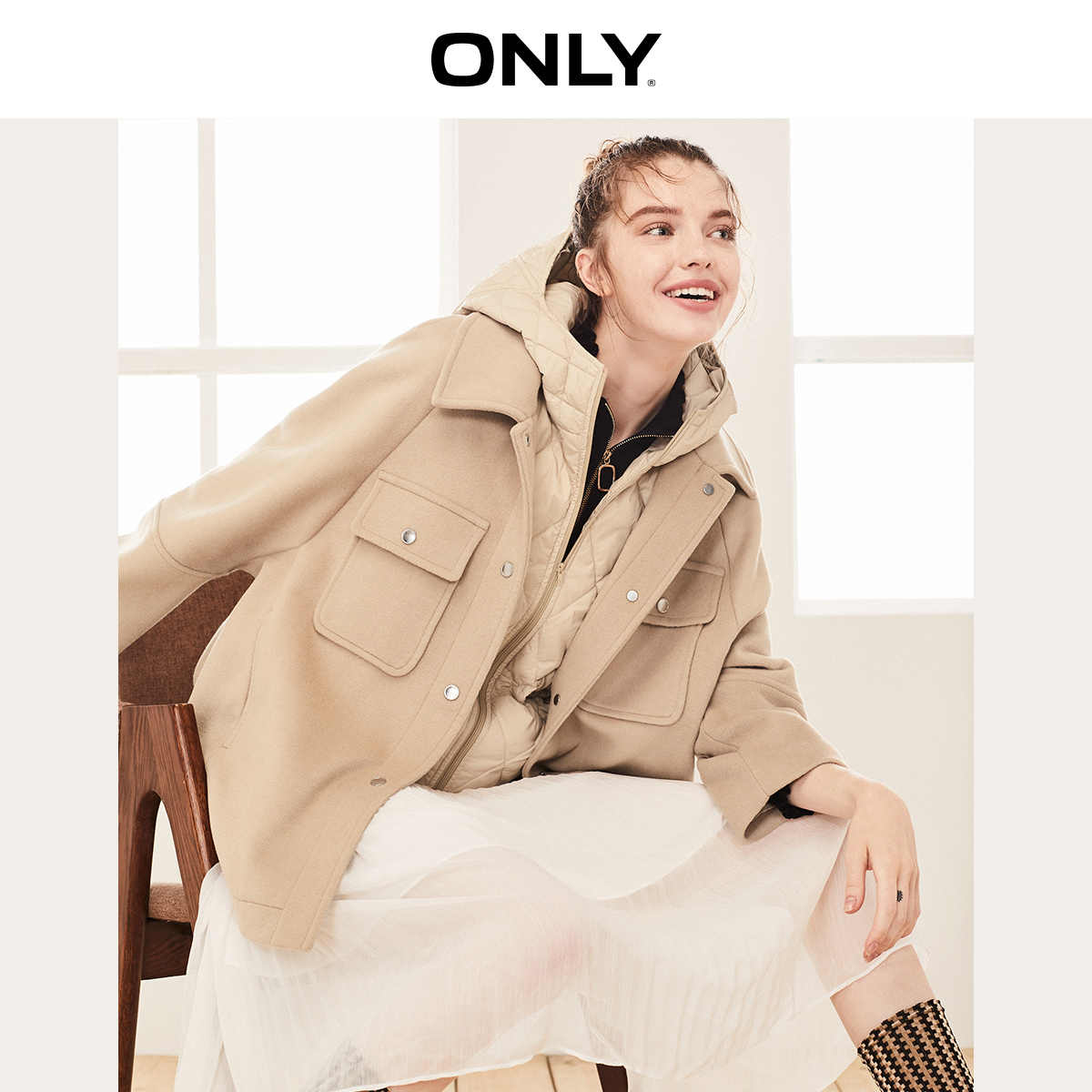 ONLY 2019 Autumn Winter Women's Two-piece Woolen Coat | 11934T507