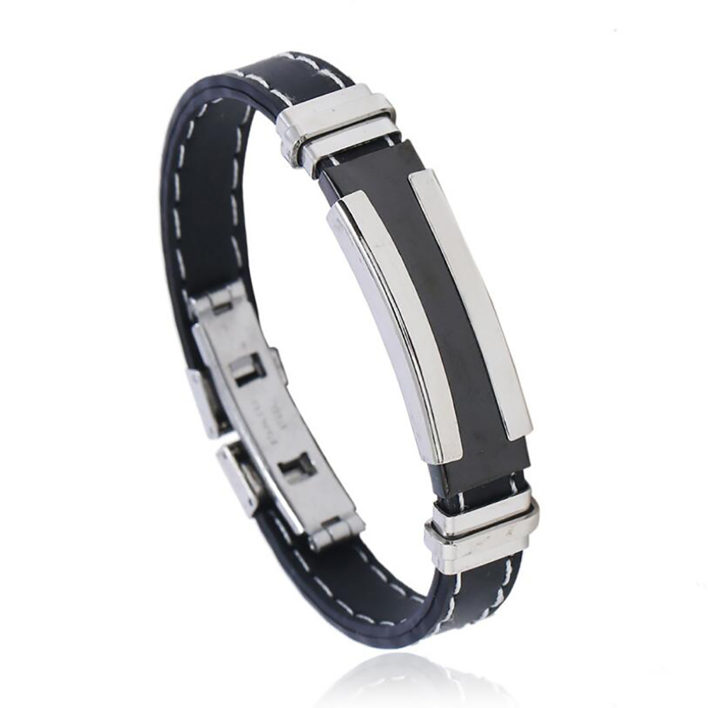 Cool Mens Health Bracelet Stainless Steel Silicone Bracelets with Chain Man Jewelry Accessories  punk bracelet