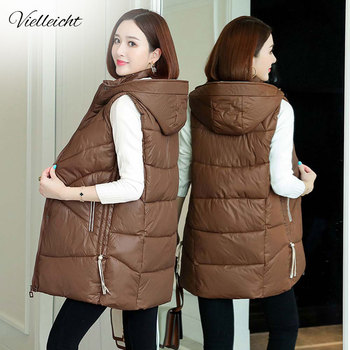 Vielleicht 2020 Women Winter Vest Waistcoat New Long Sleeveless Jacket Hooded Down Cotton Warm Female