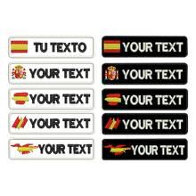 Personnalisé espagne galicien nom patchs étiquettes personnalisé fer sur crochet support brodé
