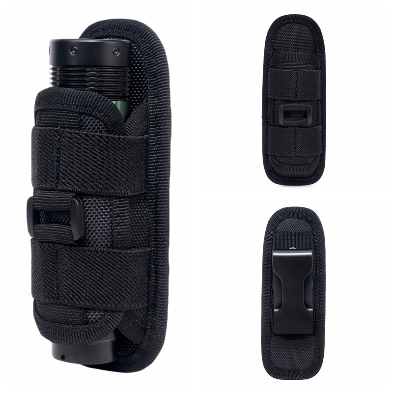 360 Degrees Tactical Rotatable Flashlight Pouch Holster Torch Case Belt Portable Torch Cover Holder Hunting Lighting Accessory