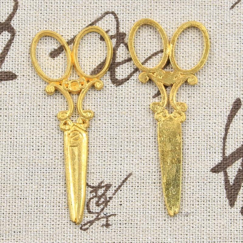 5pcs Charms Sewing Scissors 61x25mm Antique Making Pendant fit,Vintage Tibetan Bronze Silver color,DIY Handmade Jewelry 3