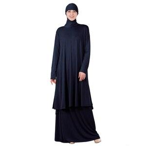 Image 5 - שתי חתיכות סט תפילה אסלאמיים העבאיה שמלה מוסלמית נשים גדול צעיף מקסי חצאיות Jilbab ברדס חיג אב קפטן גלימה ערבית הרמדאן