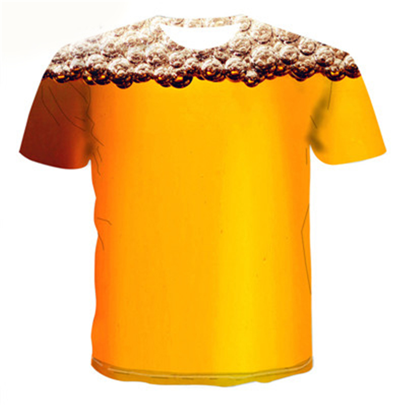 New Yellow Foam Summer Beer 3D Printing T-shirt Fashion O-neck Short Sleeve Tees Hip-hop Unisex Tops Novelty Funny Anime T shirt image