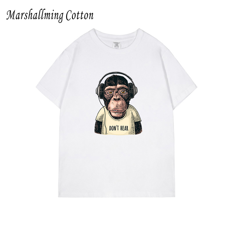 cotton ming fun do not hear monkey t shirt men anime <font><b>arkansas</b></font> man summer t-shirt white printed graphic tee tops XS - 5XL image