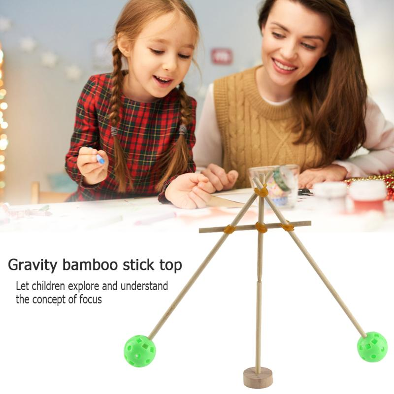 DIY Gravity Bamboo Stick Toy Develop Children Curiosity Creativity Assembly Model Gyroscope Science Experiment Kits