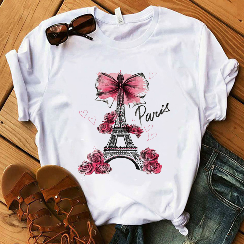 Vintage Vogue Paris Printed Tshirt Summer Kawaii T Shirt  Harajuku Womens Shirts Women Casual Tops O Neck Hipster Ladies Tee