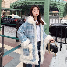 New Wool Blends Coat Women Autumn and Winter 2019 Fashion Lamb Patchwork Warm Thick Plaid Woolen Outerwear