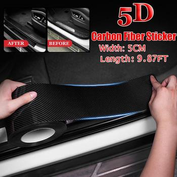 Stylish 9.87FT Car Interior Moulding Trim Strip Styling Carbon Fiber Decoration Strip Car Door trips Rubber Edge Protective Seal image