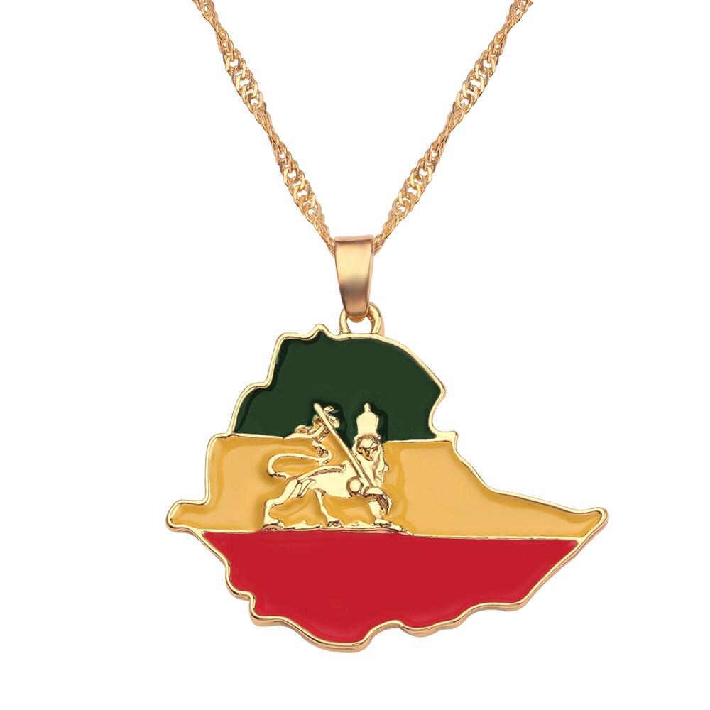 Новая карта страны, флаг, ожерелье, Африка, Гана, Liberia Undersea, Jamaica, Южная Африка, Congo, Honduras, подвеска, цепь, мужские ювелирные изделия - Окраска металла: Ethiopian Empire